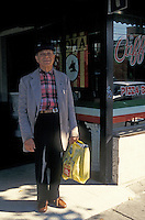 Elderly Italian immigrant on Commercial Drive, Liitle Italy district, Vancouver, British Columbia, Canada