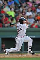 Right fielder Tate Matheny (16) of the Greenville Drive bats in a game against the Augusta GreenJackets on Thursday, June 9, 2016, at Fluor Field at the West End in Greenville, South Carolina. Augusta won, 8-2. (Tom Priddy/Four Seam Images)
