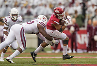 Hawgs Illustrated/BEN GOFF <br /> Erroll Thompson, Mississippi State linebacker, tackles Devwah Whaley, Arkansas running back, in the fourth quarter Saturday, Nov. 18, 2017, at Reynolds Razorback Stadium in Fayetteville.