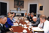 United States President Bill Clinton meets with his national security team in the Roosevelt Room of the White House in Washington, DC on May 1, 1993.  Pictured from left to right: The Chairman of the Joint Chiefs of Staff, US Army General Colin L. Powell; US Ambassador to the United Nations Madeleine Albright; US Vice President Al Gore; David Johnson, Deputy White House Press Secretary for Foreign Affairs and Senior Director for Public Affairs of the National Security Council; US Secretary of State Warren Christopher; President Clinton; US Secretary of Defense Les Aspin; and Leon Fuerth, National Security Advisor to the Vice President.<br /> Credit: White House via CNP