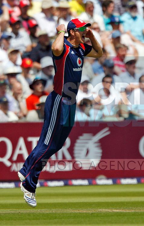 England's Kevin Pietersen celebrates the wicket of Daniel Flynn