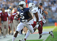 20 September 2014:  Penn State WR DaeSean Hamilton (5) runs away from UMass DB. The Penn State Nittany Lions defeated the University of Massachusetts Minutemen 48-7 at Beaver Stadium in State College, PA.
