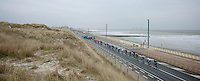 Gent-Wevelgem 2013.echelons driving next to the coastline trying to cath eachother