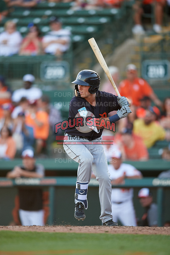 Detroit Tigers second baseman Kody Clemens (89) at bat during a Grapefruit League Spring Training game against the Baltimore Orioles on March 3, 2019 at Ed Smith Stadium in Sarasota, Florida.  Baltimore defeated Detroit 7-5.  (Mike Janes/Four Seam Images)