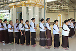 Daily routine in the Mahasi Sasana Yeiktha centre: Walking mediation before lunch at 10:30 - Burmese lay women