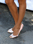 Actress Eva Longoria Parker 's shoes at the 2008 ALMA Awards Nominees Press Conference at Universal Studios on July 21, 2008 in Universal City, California.