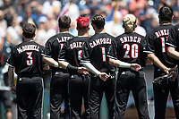Louisville Cardinals before Game 3 of the NCAA College World Series against the Vanderbilt Commodores on June 16, 2019 at TD Ameritrade Park in Omaha, Nebraska. Vanderbilt defeated Louisville 3-1. (Andrew Woolley/Four Seam Images)