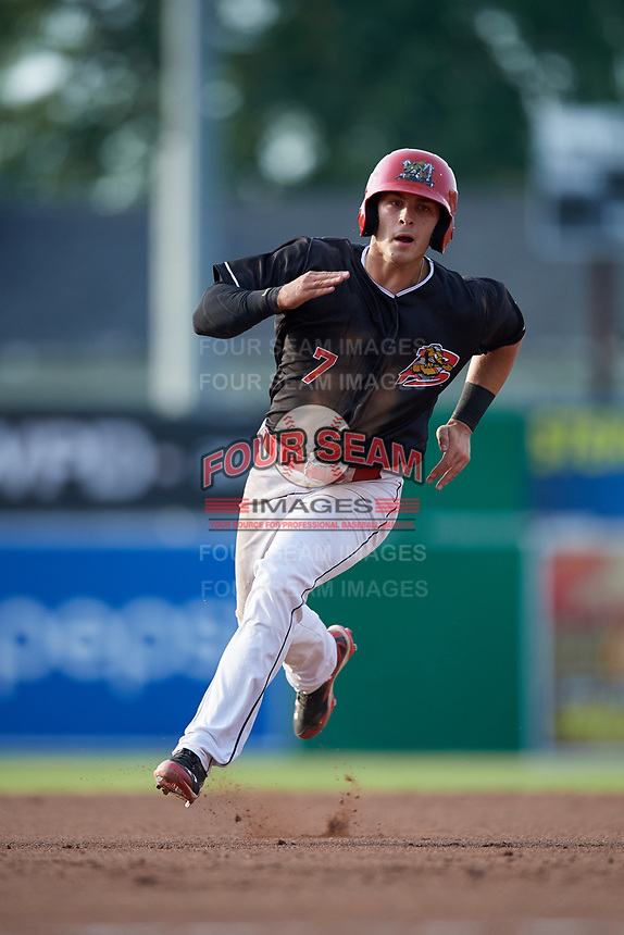 Batavia Muckdogs designated hitter Michael Donadio (7) runs the bases during a game against the West Virginia Black Bears on July 2, 2018 at Dwyer Stadium in Batavia, New York.  West Virginia defeated Batavia 3-1.  (Mike Janes/Four Seam Images)