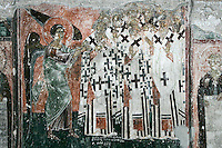 exterior Narthex,Angel pushing into Hell  false prophets and apostles,fresco,wall-painting,Milesheva  Monastery of Ascension of the Lord , 1234-1235