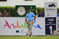 Jorge Campillo (ESP) on the 1st tee during Sunday's storm delayed Final Round 3 of the Andalucia Valderrama Masters 2018 hosted by the Sergio Foundation, held at Real Golf de Valderrama, Sotogrande, San Roque, Spain. 21st October 2018.<br /> Picture: Eoin Clarke | Golffile<br /> <br /> <br /> All photos usage must carry mandatory copyright credit (&copy; Golffile | Eoin Clarke)