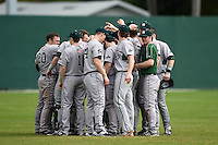 Slippery Rock team meeting before a game against the University of the Sciences Devils on March 6, 2015 at Jack Russell Field in Clearwater, Florida.  Slippery Rock defeated University of the Sciences 6-3.  (Mike Janes/Four Seam Images)
