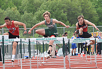 RICK PECK/SPECIAL TO MCDONALD COUNTY PRESS McDonald County's Joel Morris (right) took third place in the 110 hurdles and later added a third in the 300 hurdles at last week's conference championships.