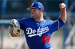Bryan Warzek pitches for the Dodgers in a triple-A spring training game against the Indians, in Goodyear, Ariz., on Wednesday, March 13, 2019. <br />