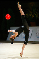 Anna Bessonova of Ukraine recatches ball and back flexion during training before 2006 Thiais Grand Prix in Paris, France on March 25, 2006.  (Photo by Tom Theobald)