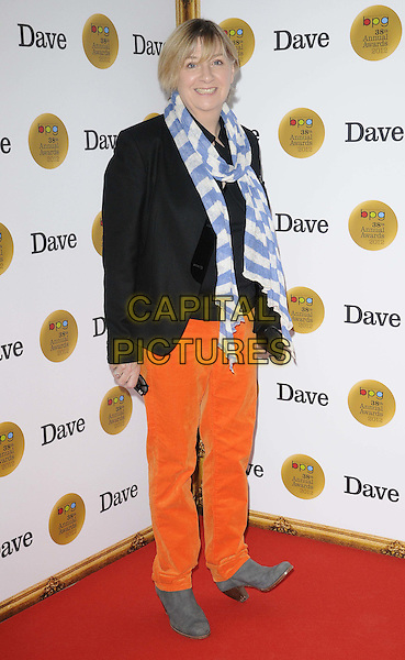 Victoria Wood.The Broadcasting Press Guild ( BPG ) TV & Radio Awards 2012, Theatre Royal, Drury Lane, London, England..March 30th, 2012.full length black jacket white blue scarf orange jeans denim.CAP/CAN.©Can Nguyen/Capital Pictures.