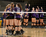 SIOUX FALLS, SD - OCTOBER 14: The University of Sioux Falls celebrates a point against Augustana in the first game of their match Tuesday night at the Elmen Center. (Photo by Dave Eggen/Inertia)
