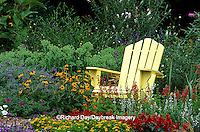 63821-14015 Yellow Adirondack chair in flower garden -Marion Co. IL