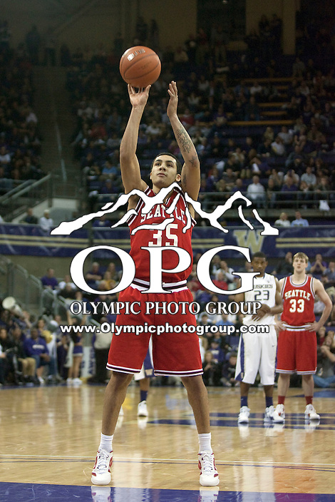 Jan 10, 2012:  Seattle University's Jarell Flora against Washington.  Washington defeated Seattle University  91-83 at Alaska Airlines Arena Seattle, Washington..