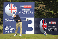 Paul Dunne (IRL) on the 3rd tee during Round 2 of the Sky Sports British Masters at Walton Heath Golf Club in Tadworth, Surrey, England on Friday 12th Oct 2018.<br /> Picture:  Thos Caffrey | Golffile<br /> <br /> All photo usage must carry mandatory copyright credit (&copy; Golffile | Thos Caffrey)