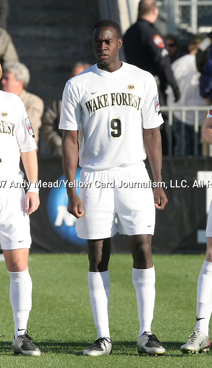 16 December 2007: Wake Forest's Marcus Tracy. The Wake Forest University Demon Deacons defeated the Ohio State Buckeyes 2-1 at SAS Stadium in Cary, North Carolina in the NCAA Division I Mens College Cup championship game.