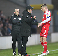 Fleetwood Town's Manager Joey Barton talks to  Ashley Eastham<br /> <br /> Photographer Mick Walker/CameraSport<br /> <br /> The EFL Sky Bet League One - Burton Albion v Fleetwood Town - Saturday 11th January 2020 - Pirelli Stadium - Burton upon Trent<br /> <br /> World Copyright © 2020 CameraSport. All rights reserved. 43 Linden Ave. Countesthorpe. Leicester. England. LE8 5PG - Tel: +44 (0) 116 277 4147 - admin@camerasport.com - www.camerasport.com