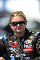 Apr. 15, 2012; Concord, NC, USA: NHRA pro stock driver Erica Enders during eliminations for the Four Wide Nationals at zMax Dragway. Mandatory Credit: Mark J. Rebilas-
