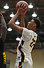 Craig Brown #22 of Uniondale shoots from short range during the Nassau County varsity boys basketball Class AA semifinals against Westbury at Farmingdale State College on Monday, Feb. 26, 2018. Top-seeded Uniondale won by a score of 61-44.