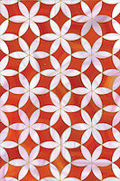 Fiona, a waterjet mosaic shown in Sardonyx and Rose Quartz jewel glass, is part of the Silk Road collection by Sara Baldwin for New Ravenna.