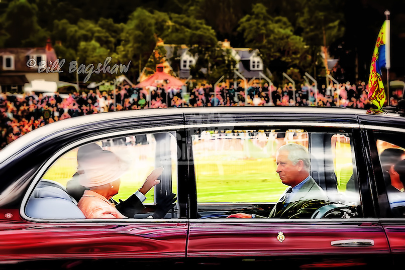 The Queen arrives at Braemar Gathering & Highland Games Royal Deeside, Scotland, accompanied by Prince Charles & The Duke of Edinburgh