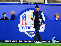 Bubba Watson (USA) on the 1st tee before Saturday Mornings Fourball Matches of the Ryder Cup 2014 played on the PGA Centenary Course at the Gleneagles Hotel, Auchterarder, Scotland.: Picture Eoin Clarke, www.golffile.ie : 27th September 2014