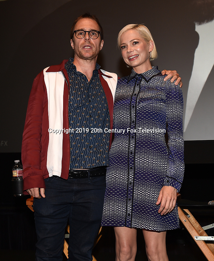 """LOS ANGELES - AUGUST 19: Actors Sam Rockwell and Michelle Williams during the AwardsLine Panel screening and conversation for FX's """"Fosse/Verdon"""" at the Zanuck Theatre on the Fox Studio Lot on August 19, 2019 in Los Angeles, California. (Photo by Frank Micelotta/FX/PictureGroup)"""