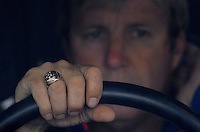 Mar 31, 2007; Martinsville, VA, USA; Nascar Nextel Cup Series driver Sterling Marlin (14) displays his Daytona 500 champion ring while sitting in the car during practice for the Goody's Cool Orange 500 at Martinsville Speedway. Martinsville marks the second race for the new car of tomorrow. Mandatory Credit: Mark J. Rebilas