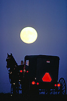 An Amish horse drawn buggy travels on a full moon night. Amish. Lancaster Pennsylvania United States Moonlit countryside.