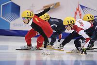 "SHORT TRACK: MOSCOW: Speed Skating Centre ""Krylatskoe"", 15-03-2015, ISU World Short Track Speed Skating Championships 2015, Semifinals 1000m Men, Dajing WU (CHN), Victor AN (#151 | RUS), ©photo Martin de Jong"