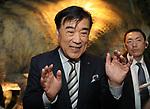 "March 15, 2017, Urayasu, Japan - Japan's travel agency H.I.S. president Hideo Sawada speaks to press at the opening of his ""Henn na Hotel"" (Strange hotel) near Tokyo Disney Resort in Urayasu, suburban Tokyo on Wednesday, March 15, 2017. Japan's travel agency H.I.S runs the Henn na Hotel which has only seven human employees while nine types 140 robot staffs work at the 100-room six-storey hotel.    (Photo by Yoshio Tsunoda/AFLO) LwX -ytd-"