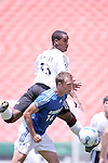 July 4 2007:  Nicholas Addlery (33)  of D.C. United and Jack Jewsbury (14) of the Wizards battle for a loose ball.  The MLS Kansas City Wizards lost to the visiting D.C. United 0-1 at Arrowhead Stadium in Kansas City, Missouri, in a regular season league soccer match.
