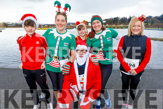 Daniel O'Connor, Helen Twomey, Santa, Ronan and Fiona O'Connor and Breda Lynch at the Fiona Moore Memorial 5k Fun Run in the Tralee Bay Wetlands on Sunday morning.