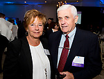 SOUTHINGTON, CT-092618JS21--Maureen Frank of Start Community Bank and Joe Carlson II of Hillside Properties LLC of Naugatuck, at the Waterbury Regional Chamber's 24th Annual Malcolm Baldrige Chamber Awards ceremony held at the Aqua Turf in Southington. <br /> Jim Shannon Republican American
