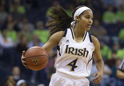 November 20, 2012:  Notre Dame guard Skylar Diggins (4) dribbles the ball during NCAA Women's Basketball game action between the Notre Dame Fighting Irish and the Mercer Bears at Purcell Pavilion at the Joyce Center in South Bend, Indiana.  Notre Dame defeated Mercer 93-36.