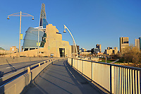 Canadian Museum for Human Rights (CMHR) from the Esplanade Riel Bridge<br /> Winnipeg<br /> Manitoba<br /> Canada