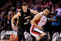 Syria's Omar Cheikh Ali and New Zealand Tall Blacks' Tom Abercromble in action during the FIBA World Cup Basketball Qualifier - NZ Tall Blacks v Syria at TSB Bank Arena, Wellington, New Zealand on Sunday 2 2018. <br /> Photo by Masanori Udagawa. <br /> www.photowellington.photoshelter.com