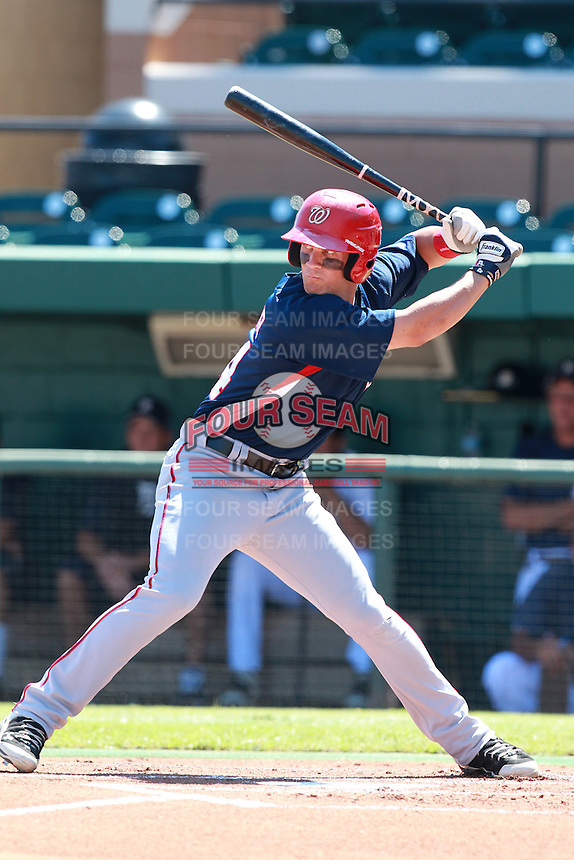 Washington Nationals minor league outfielder Bryce Harper (34) at bat during a game vs. the Detroit Tigers in an Instructional League game at Joker Marchant Stadium in Lakeland, Florida October 1, 2010.   Harper was selected in the first round, 1st overall, of the 2010 MLB Draft out of Southern Nevada Junior College.  Photo By Mike Janes/Four Seam Images