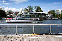 Henley on Thames. United Kingdom.   2018 Henley Royal Regatta, Henley Reach. <br />   <br /> Course Construction: Hobbs of Henley, Consuta II, moves passed the Stewards Enclosure, Veiwing Platform and Phyliis Court Club in the background.<br /> <br /> Wednesday  25/04/2018<br /> <br /> [Mandatory Credit: Peter SPURRIER:Intersport Images]<br /> <br /> LEICA CAMERA AG  LEICA Q (Typ 116)  f1.7  1/5000sec  35mm  42.5MB