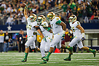 Oct. 5, 2013; Linebacker Dan Fox (48) celebrates a fumble recovery in the Shamrock Series game against Arizona State.<br /> <br /> Photo by Matt Cashore