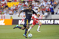 Edson Buddle (14) of the Los Angeles Galaxy. The Los Angeles Galaxy defeated the New York Red Bulls 1-0 during a Major League Soccer (MLS) match at Red Bull Arena in Harrison, NJ, on August 14, 2010.