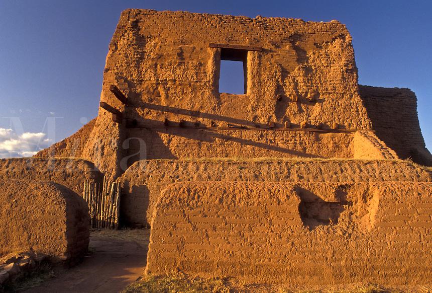 AJ3881, New Mexico, pueblo, ruin, Pecos National Historical Park, Church, Ancient pueblo ruins at Pecos Nat'l Historical Park in the state of New Mexico.