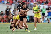 3rd February 2019, Spotless Stadium, Sydney, Australia; HSBC Sydney Rugby Sevens; New Zealand versus Australia; Womens Final; Theresa Fitzpatrick of New Zealand offloads as Page McGregor of Australia tackles