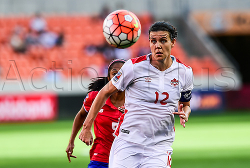 19 FEB 2016: Canada Forward Christine Sinclair (12) chases a loose ball during the Women's Olympic qualifying soccer match between Canada and Costa Rica at BBVA Compass Stadium in Houston, Texas.