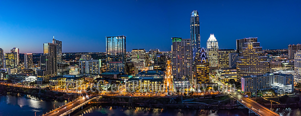 This is another panorama of the latest skyline in downtown Austin Texas at night.  The skyline along Lady Bird Lake has been changing almost yearly and will continue to change as there are plans for many new high rises in this area over the next couple of years but for now this is the latest image of this wonderful modern city.