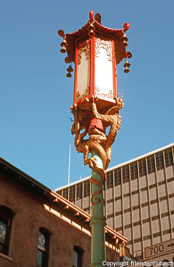 San Francisco:  Chinatown. Lamp standard at Grant and California.   Photo '89.